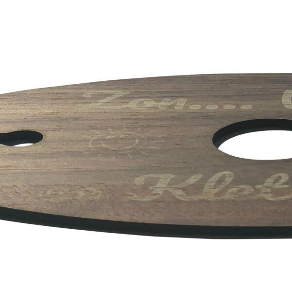 Wijnglashouder voor wijnfleshals walnoot detail